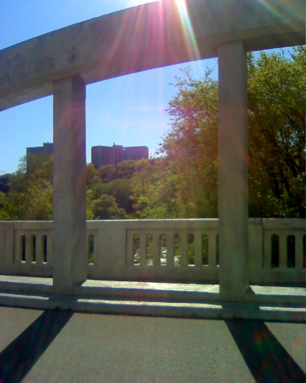 Don Road Bridge in Don Valley, Toronto, with sun shining through