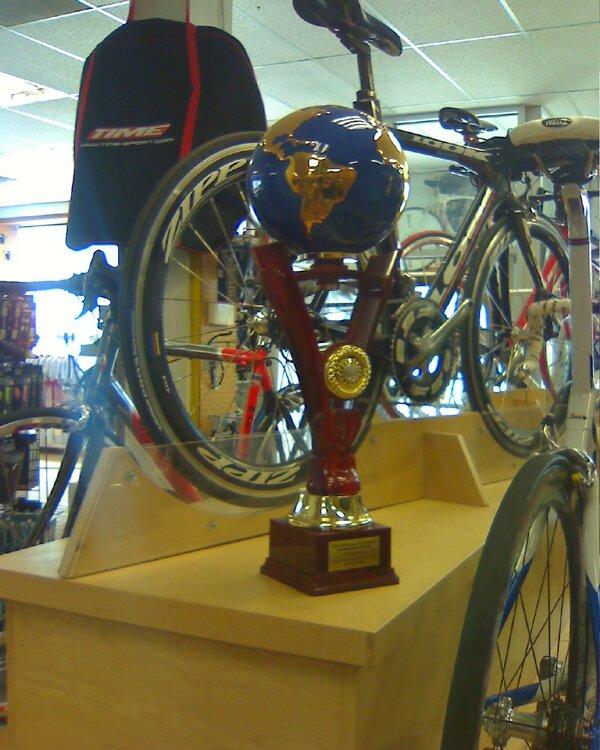 racing bike and trophy