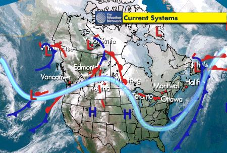 weather map, Canada, current fronts 2008-01-02