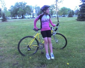 Biking togs and yellow bike