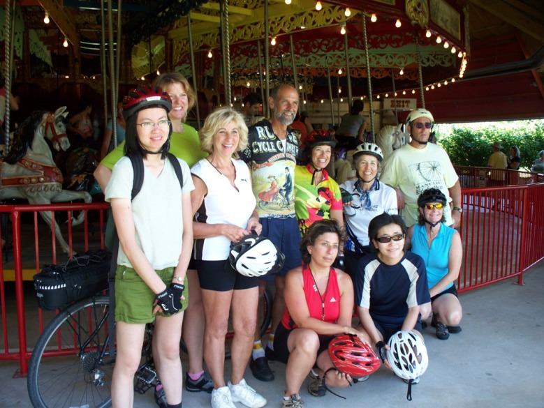Cyclists at the 1905 carousel in Port Dalhousie