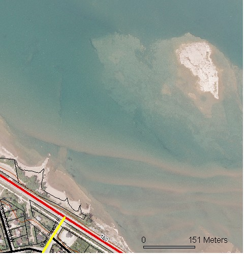 satellite picture of lakeshore and nearby island