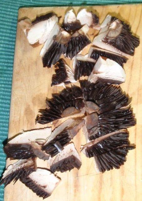 mushroom caps, sliced