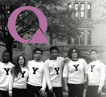 detail of Q magazine cover showing several students with Yale shirts
