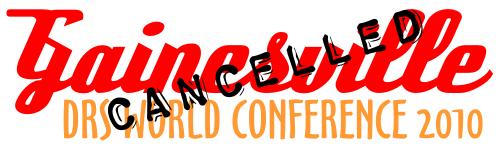 Dead Runners Society World Conference 2010 logo with 'cancelled' stamped over it