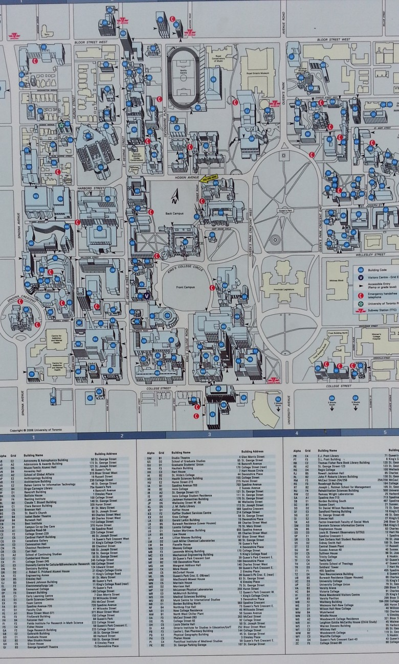 A map with legend, University of Toronto