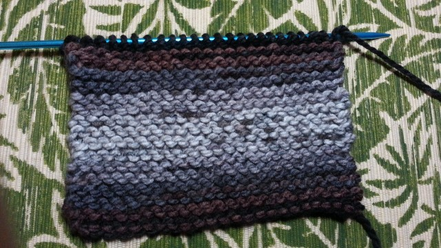 A rectangle of knitting on the needle