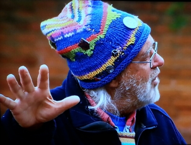An elderly man with a white beard wears a knitted blue & striped hat while gesturing vigorously