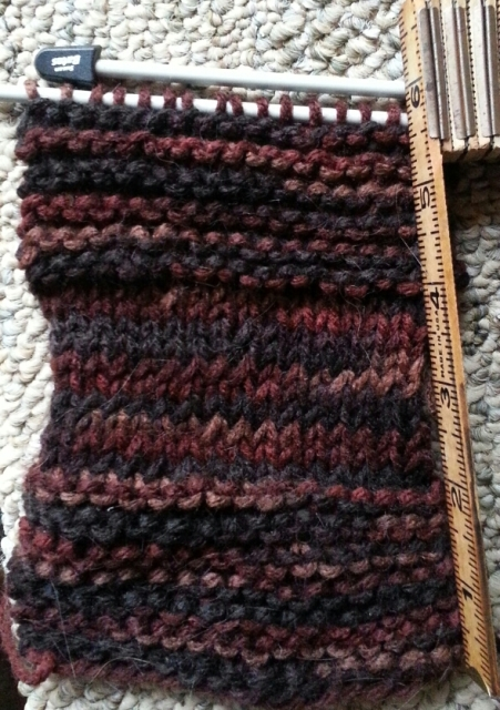 knitted patch of wool in shades of brown