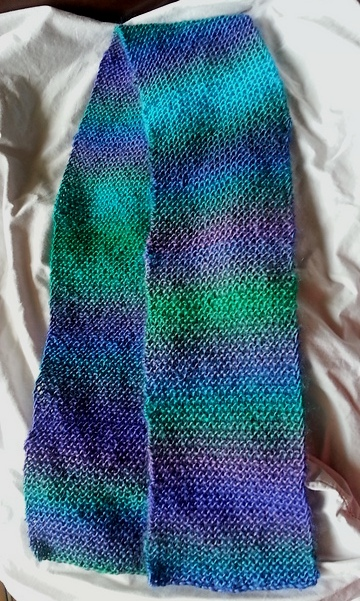 a blue, purple, and green scarf