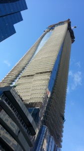 A tall building looms into the sky